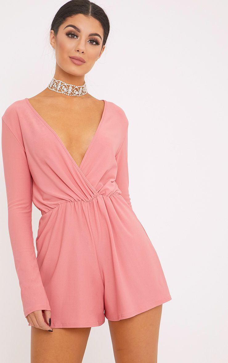 Cora Rose Crepe Wrap Front Playsuit