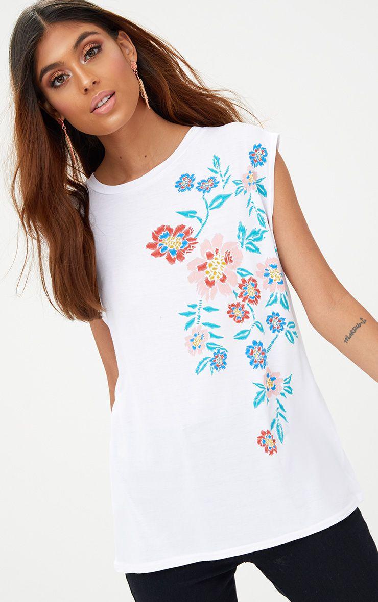 White Floral Puff Print Vest