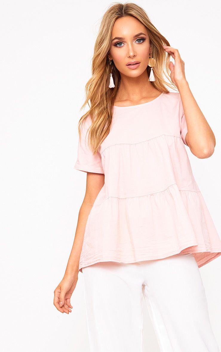 Pink Crew Neck Frill Hem Shortsleeve Shirt