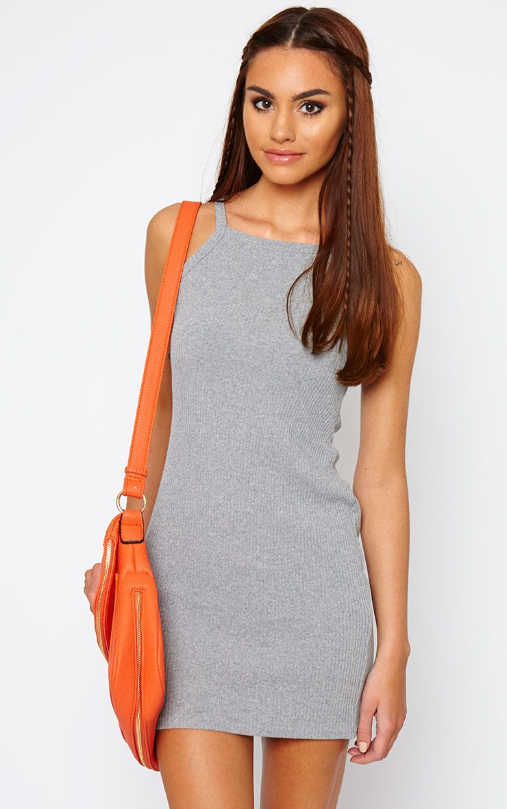 Zahra Grey Racer Ribbed Mini Dress 1