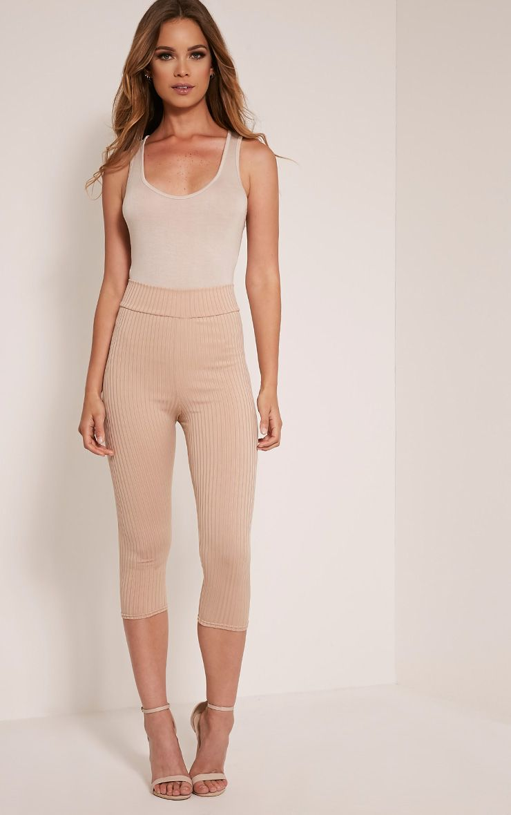 Harlie Stone Cropped Ribbed High Waisted Leggings