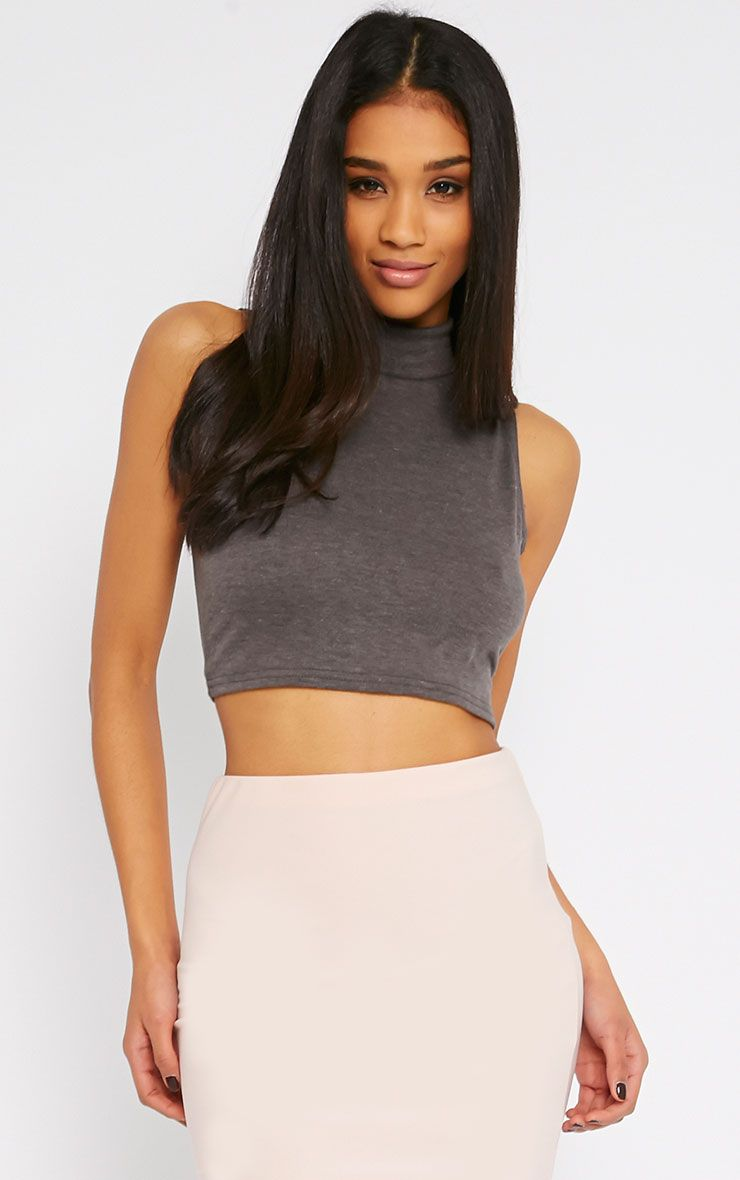 Basic Charcoal Jersey High Neck Crop Top 1