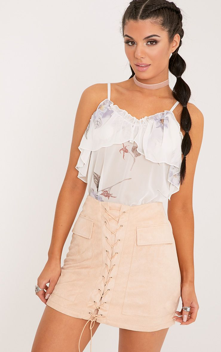 Andee Cream Sheer Ruffle Print Cami Top