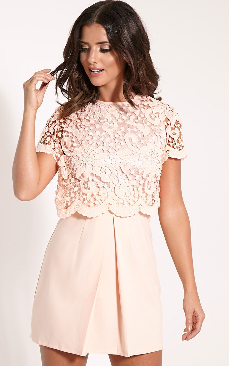 Felicia Nude Crochet Lace Skater Dress 1
