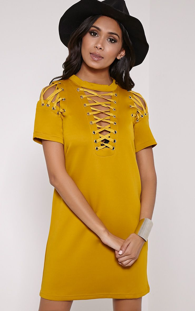 Rowan Mustard Scuba Lace Up Shift Dress 1