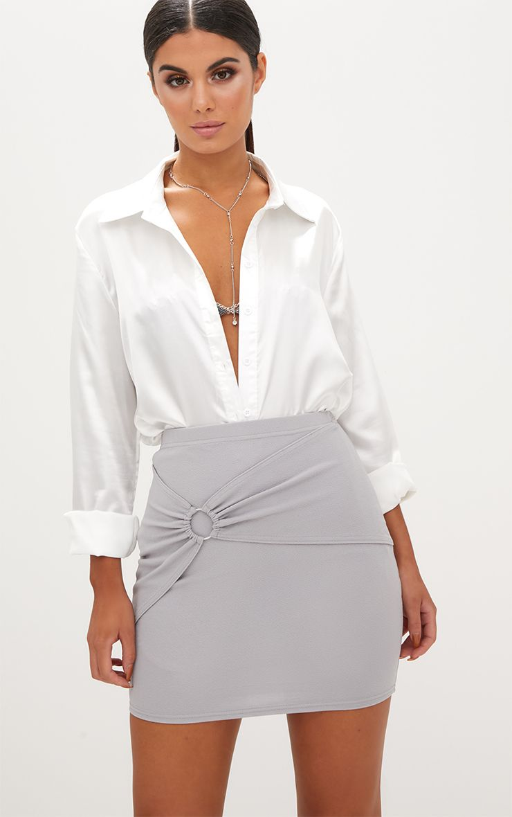 Grey Ring Wrap Mini Skirt