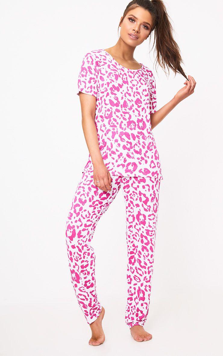 Pink Leopard Print PJ Set
