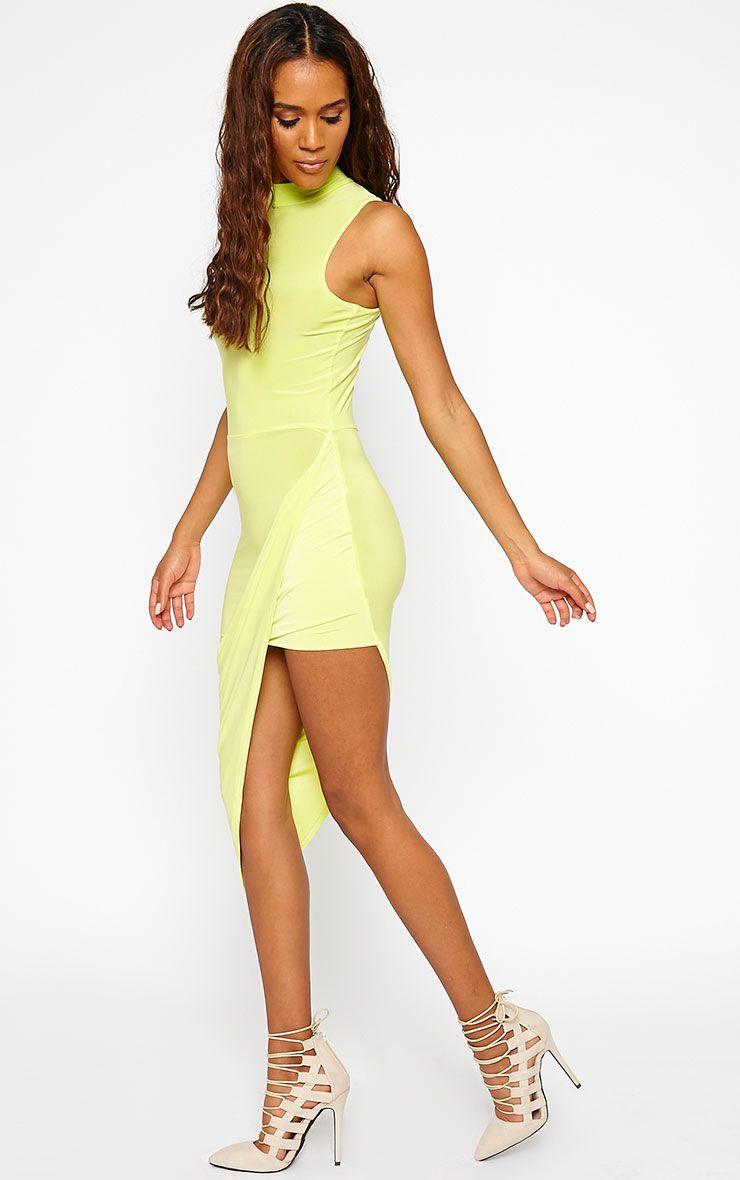 Prim Lime Slinky Drape Asymmetric Dress 1