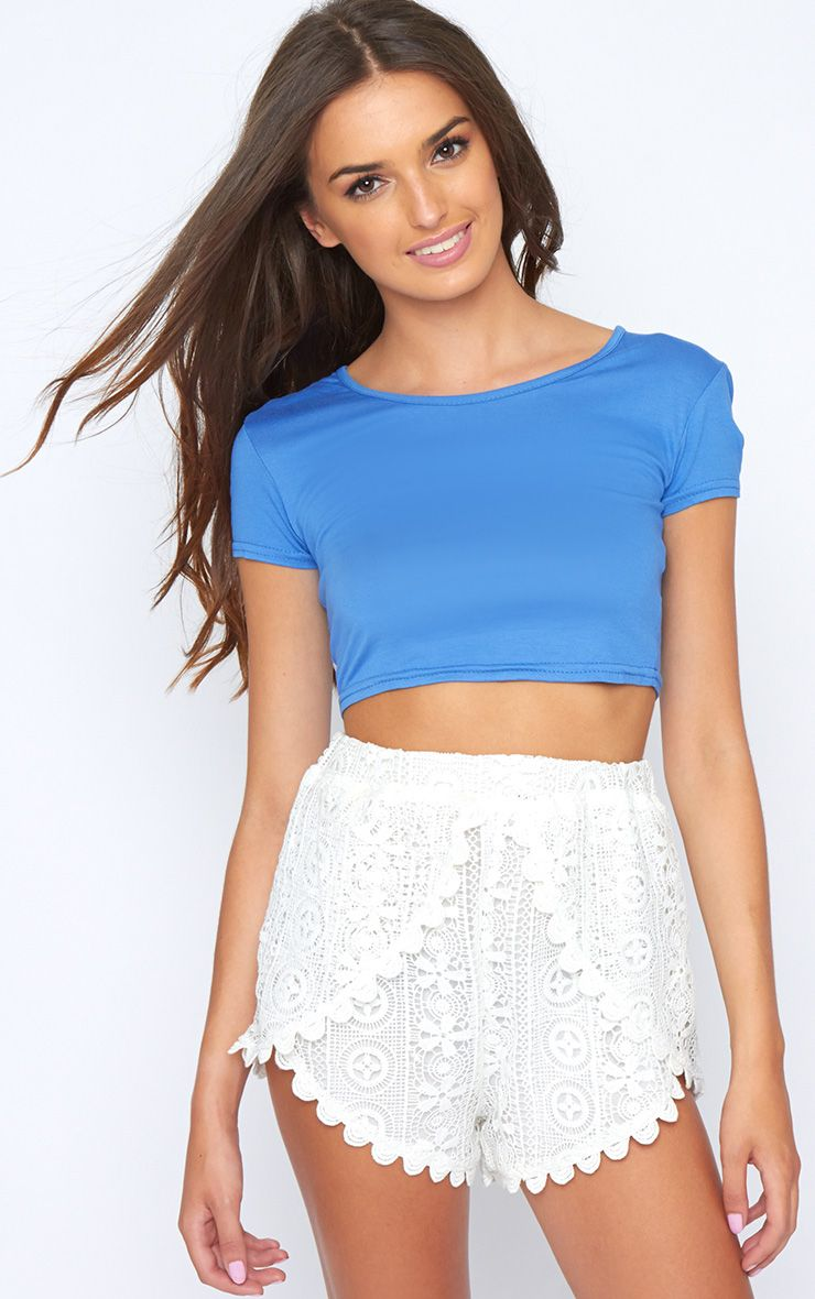 Basic Blue Short Sleeve Crop Top 1