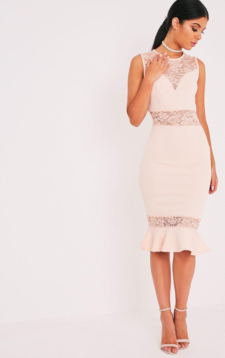 Cassie Nude Lace Panel Fishtail Midi Dress