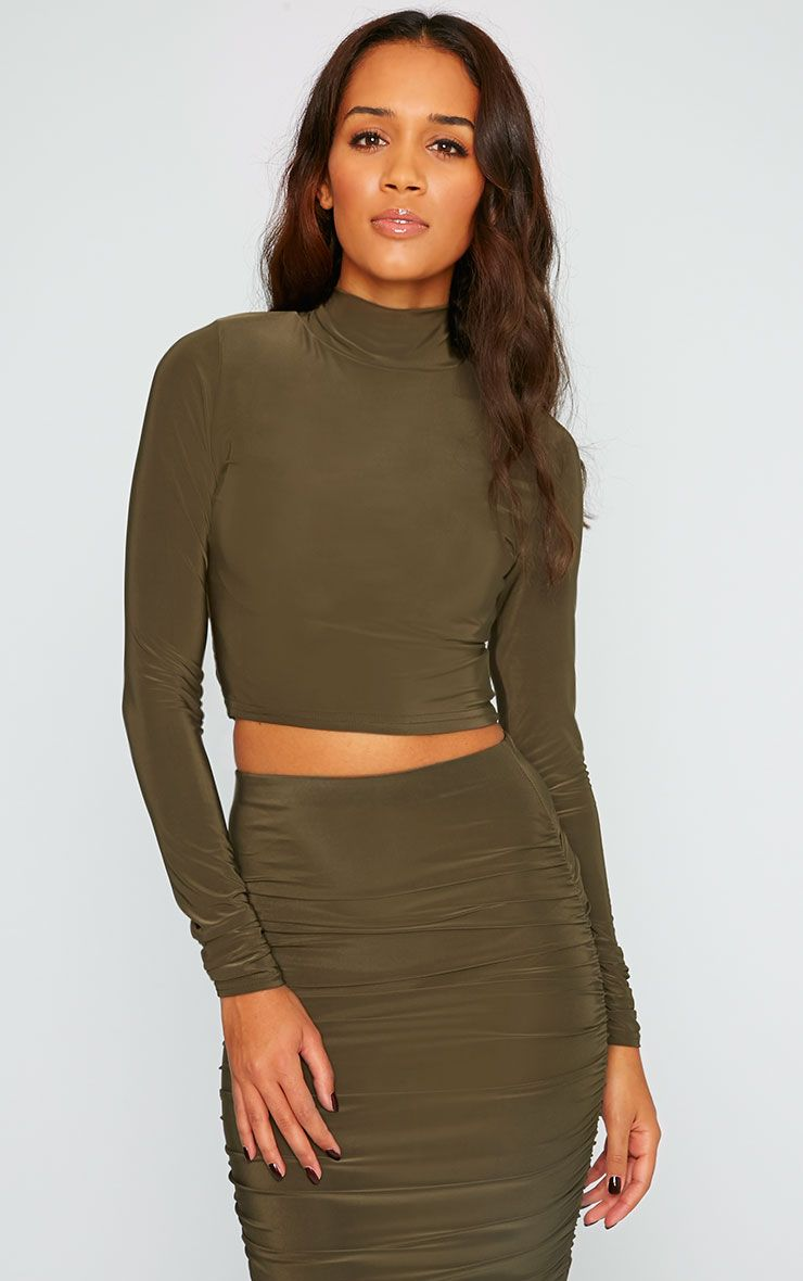 Saylor Khaki Slinky Turtle Neck Crop Top 1
