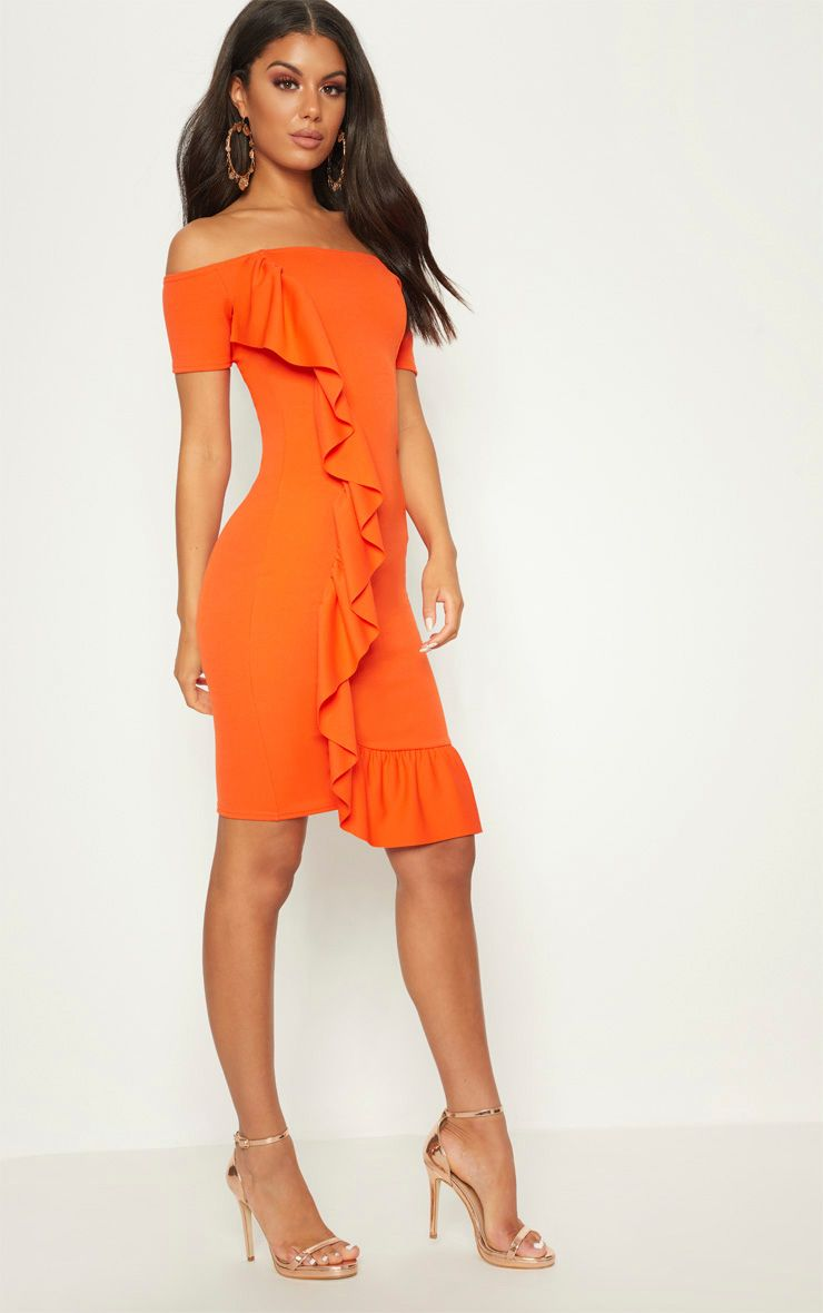 Bright Orange Frill Detail Bardot Midi Dress