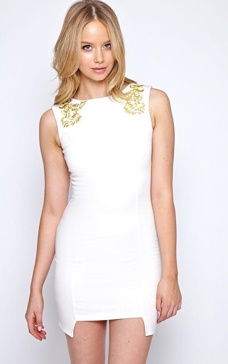 Pearla Cream Embroidered Luxe Bodycon Dress 1