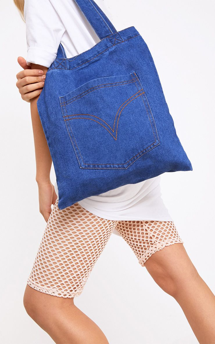 Dark Wash Denim Shopper Bag