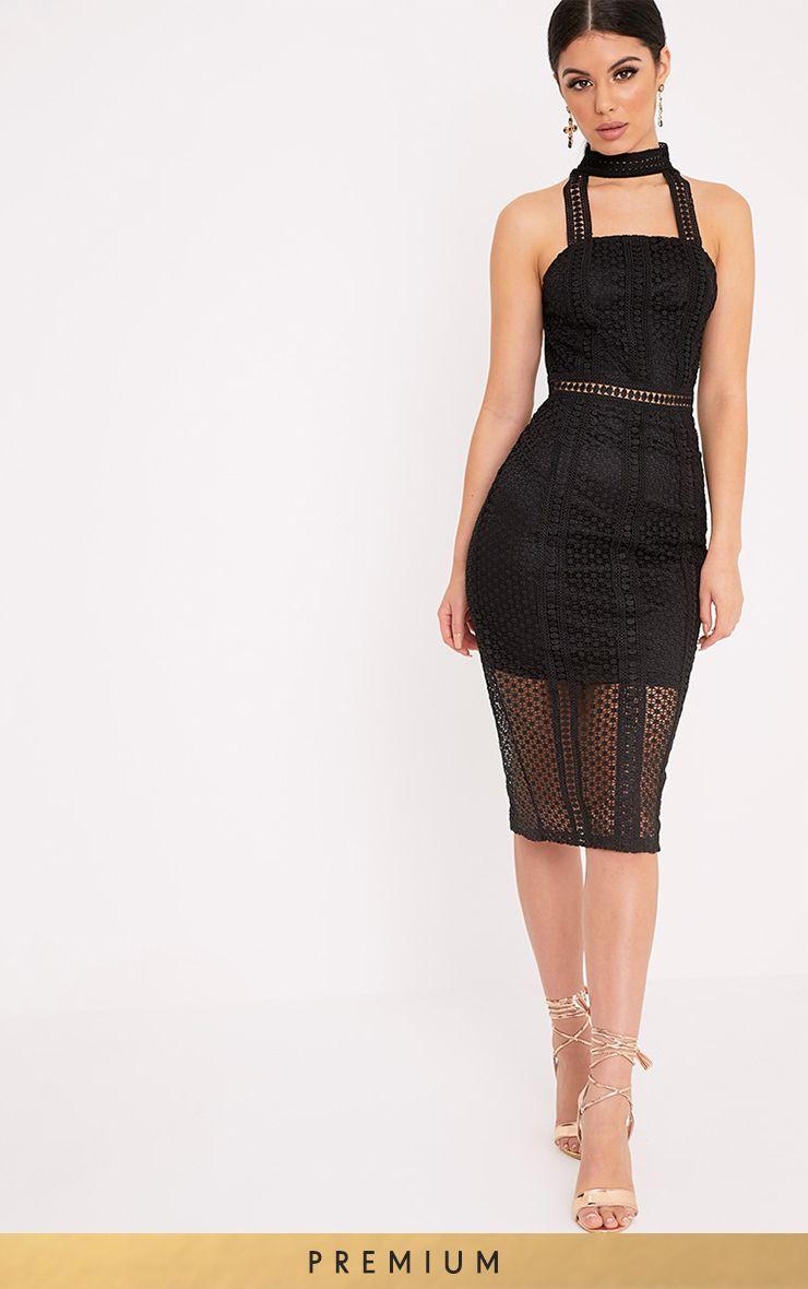 Bella Black High Neck Lace Panel Midi Dress