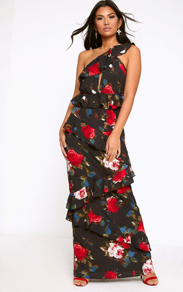 Black Floral One Shoulder Frill Maxi Dress