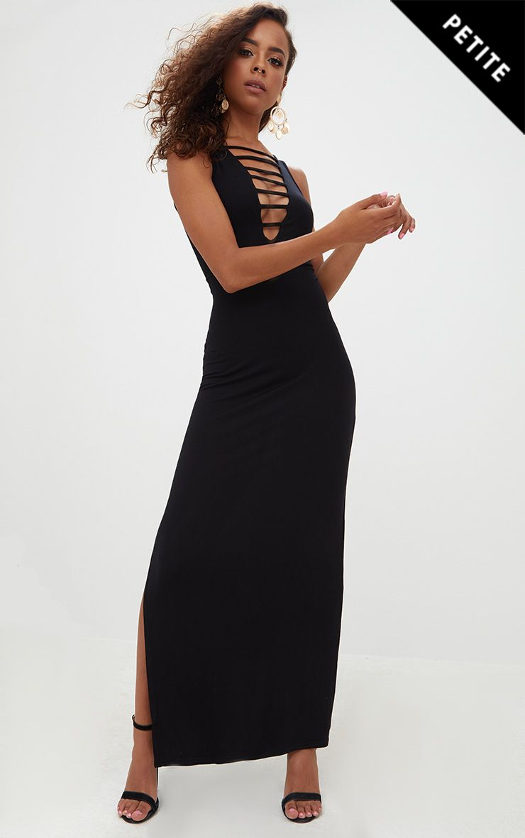 Petite Black Ladder Plunge Maxi Dress