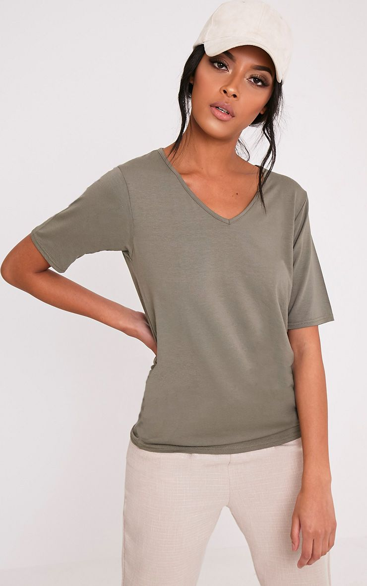Basic Khaki V Neck T Shirt