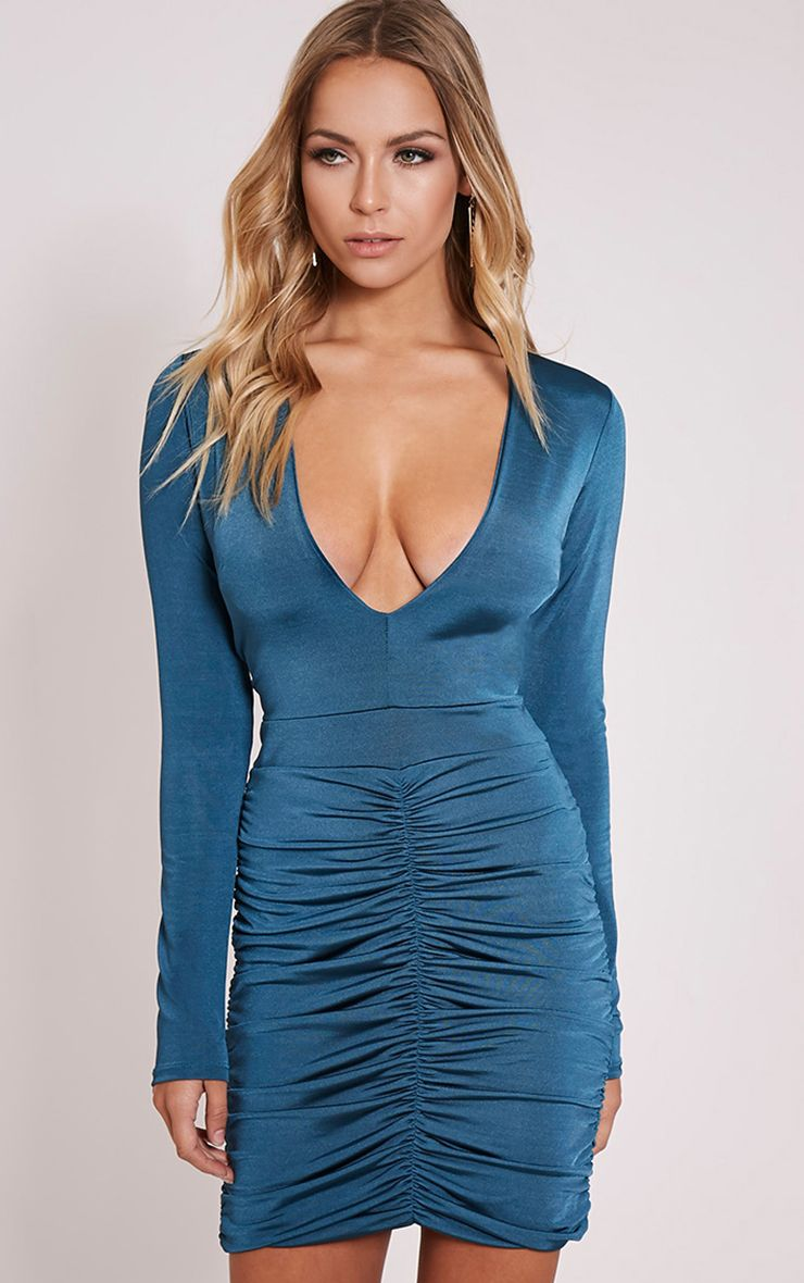 Alana Teal Plunge Ruched Bodycon Dress 1