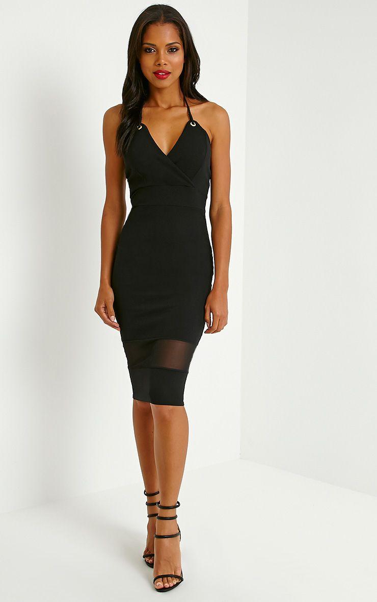 Lindsey Black Eyelet Halter Neck Midi Dress 1