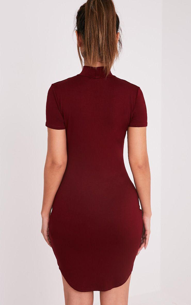 Alby Burgundy Cap Sleeve Curve Hem High Neck Dress 2