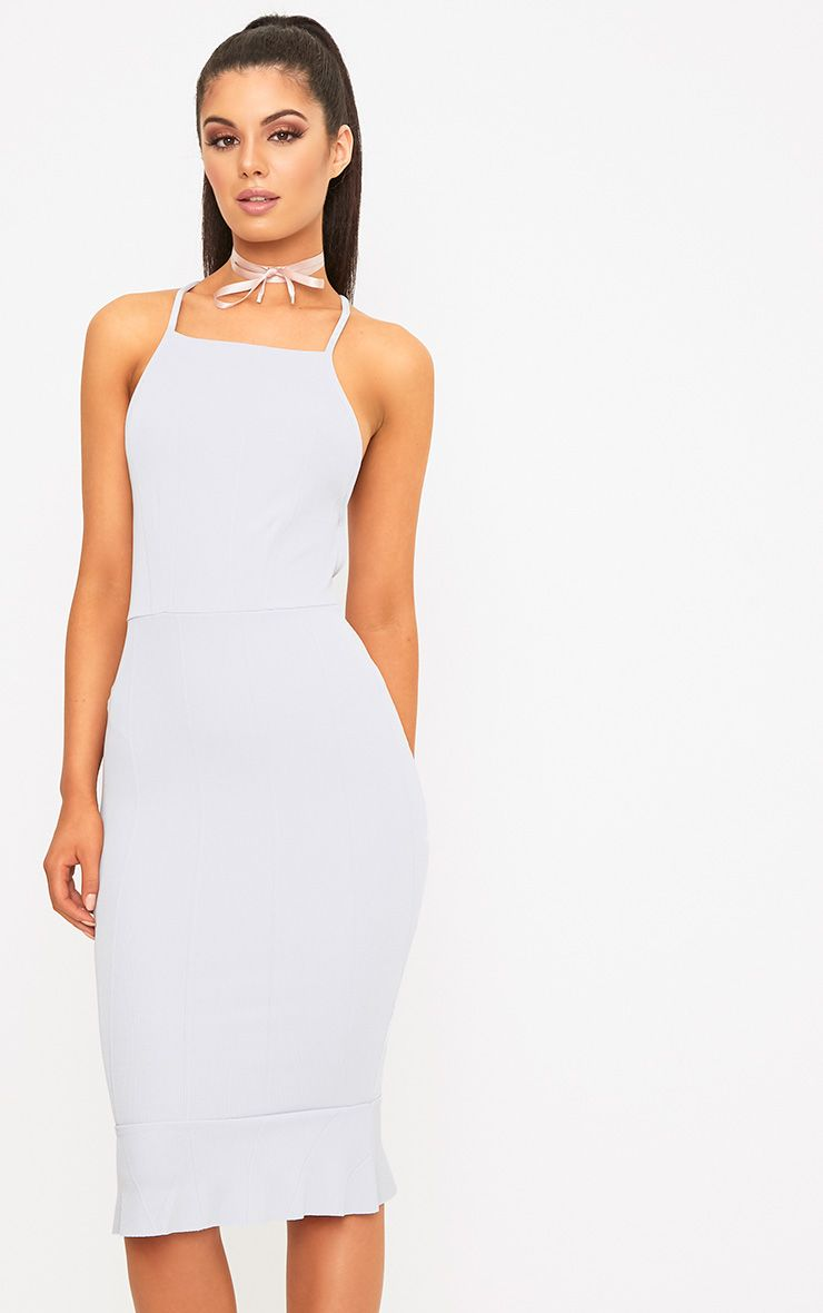 Ice Grey Cross Back Frill Hem Bandage Midi Dress