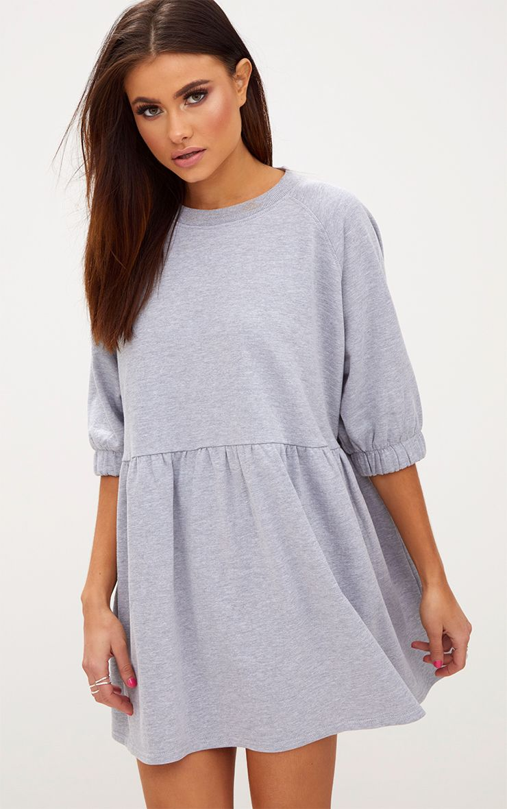 Grey Marl Smock Sweater Dress