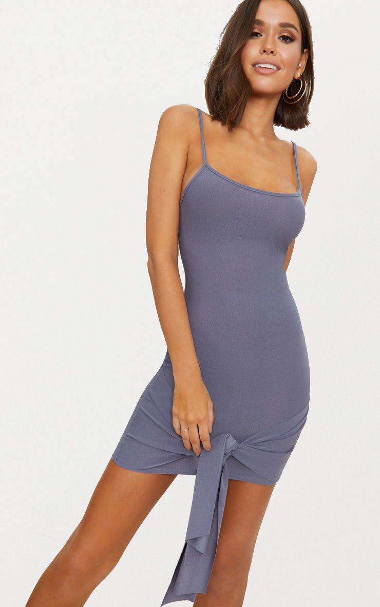 Charcoal Grey Strappy Straight Neck Bodycon Dress