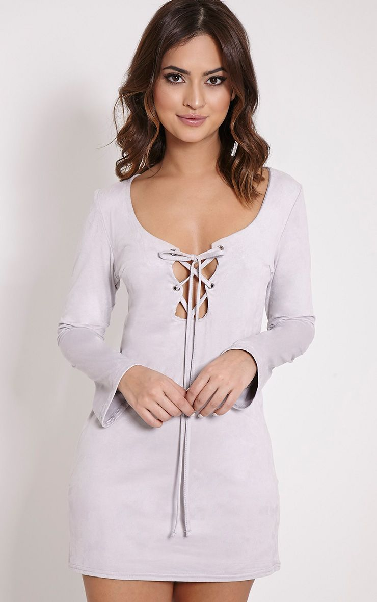 Heidi Grey Lace Up Suede Shift Dress 1