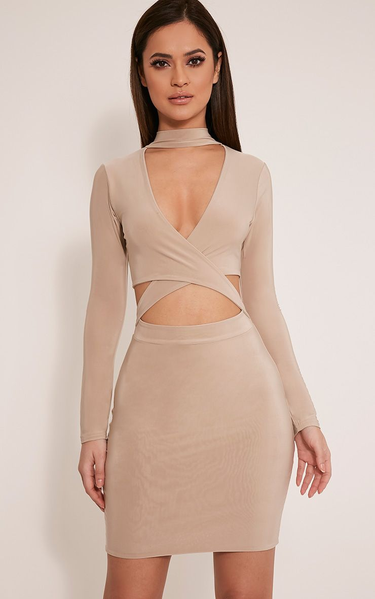 Nadeena Stone Neck Detail Cut Out Bodycon Dress 1