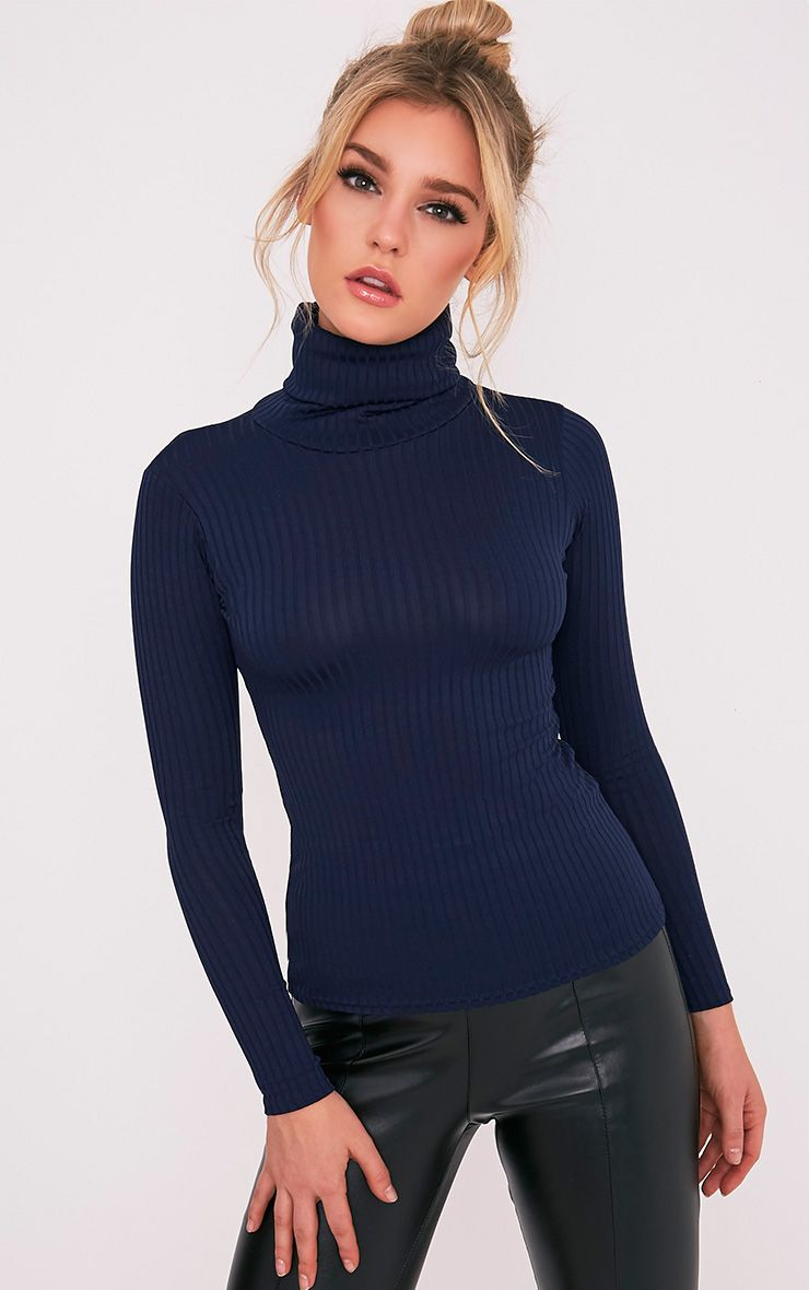 Rheta Navy Ribbed Polo Neck Top