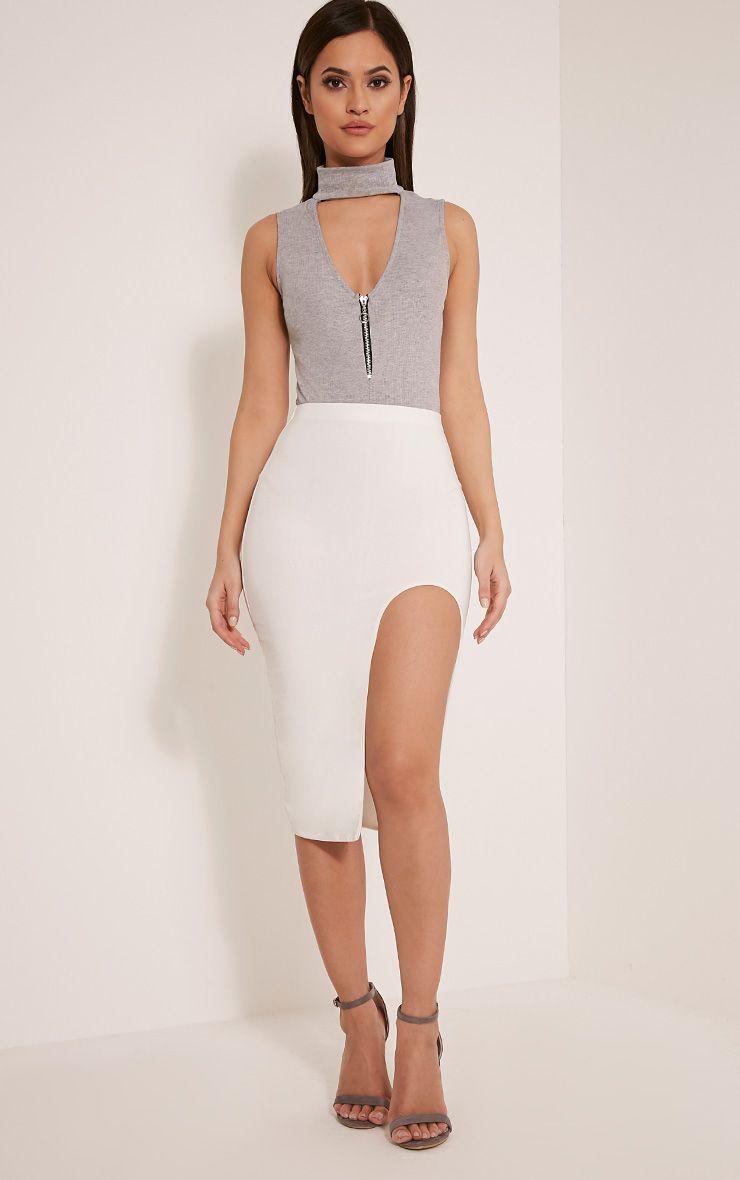 Faiye Cream Cut Out Thigh Slinky Midi Skirt 1