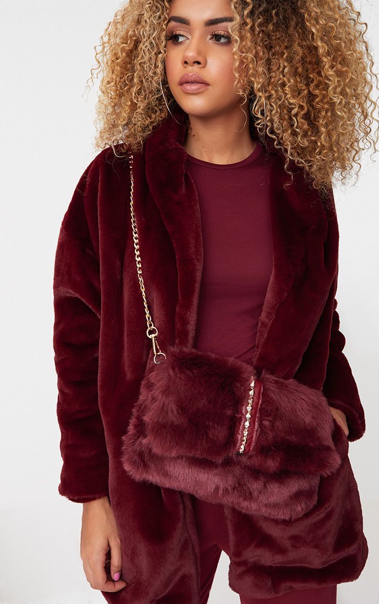 Burgundy Studded Faux Fur Foldover Clutch