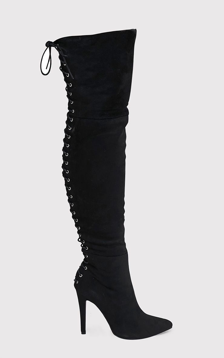 Carlie Black Lace Up Back Over The Knee Heeled Boots 1