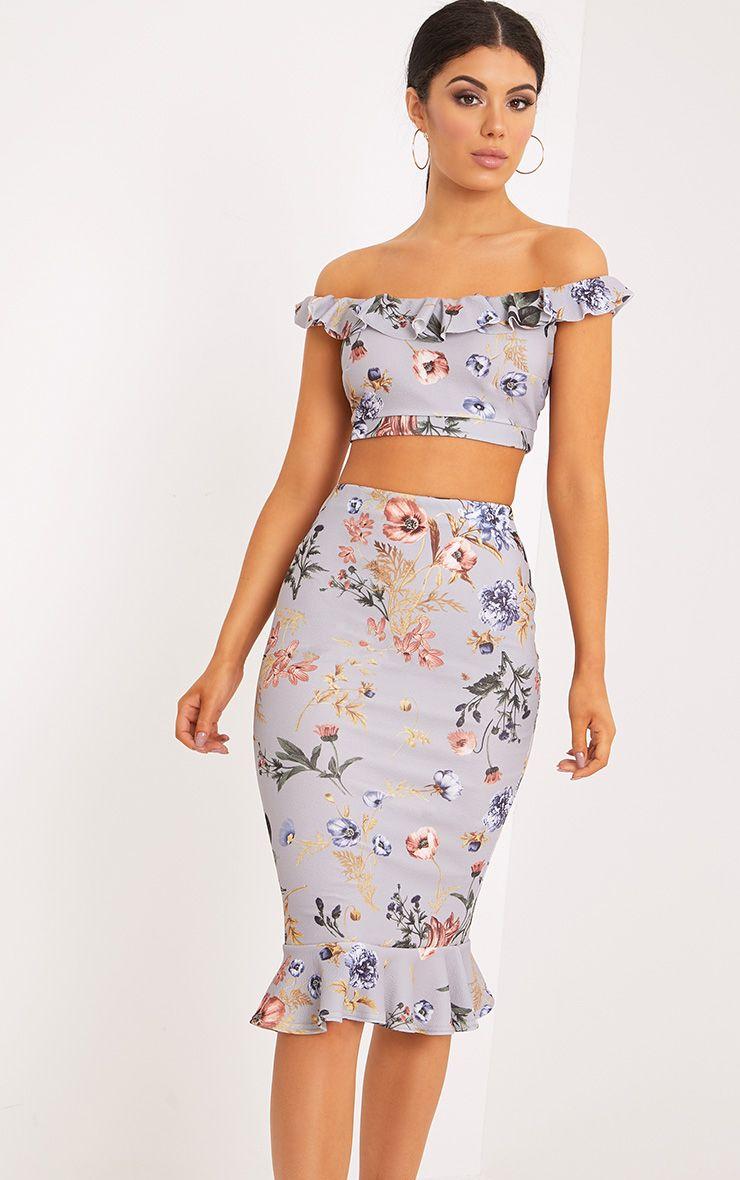 Alyson Grey Frill Hem Floral Midi Skirt