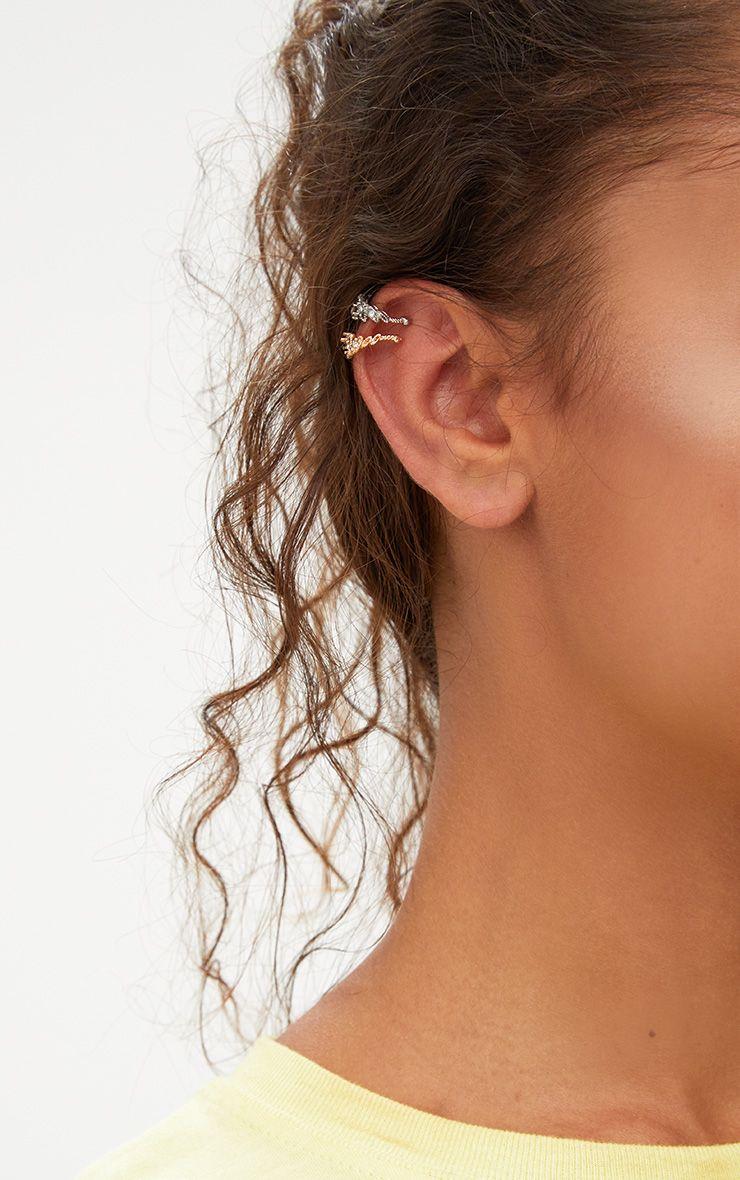 Gold and Silver Diamante Crown Ear Cuffs