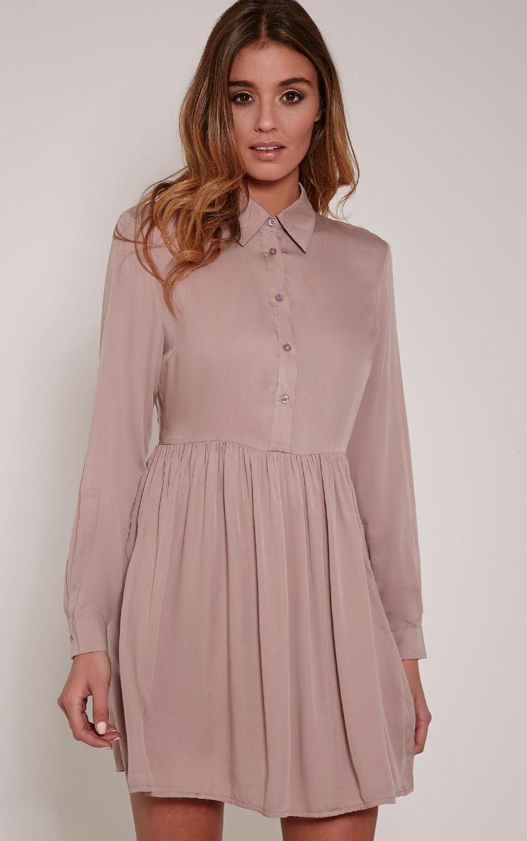 Marcia Mink Long Sleeve Shirt Dress 1