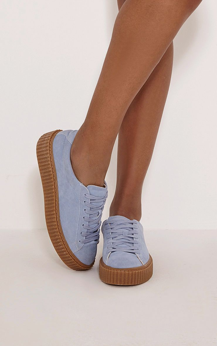 Cia Baby Blue Faux Suede Creeper Trainers 1