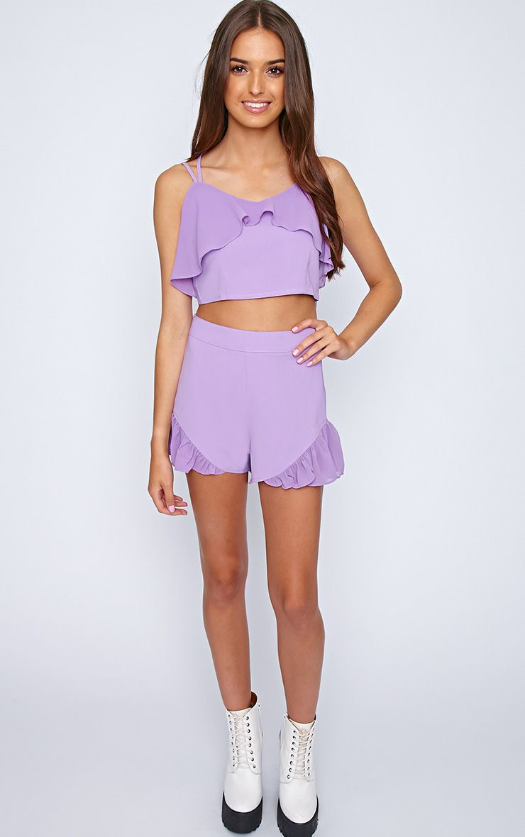 Tessa Purple Chiffon Frill Short  1