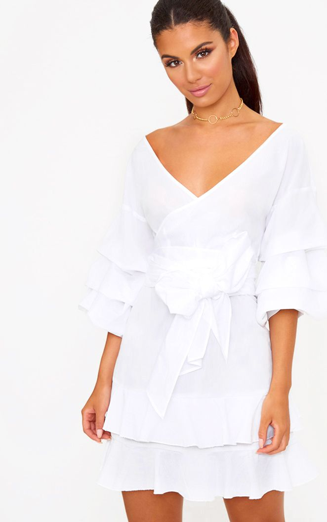 White Frill Sleeve Detail Mini Dress