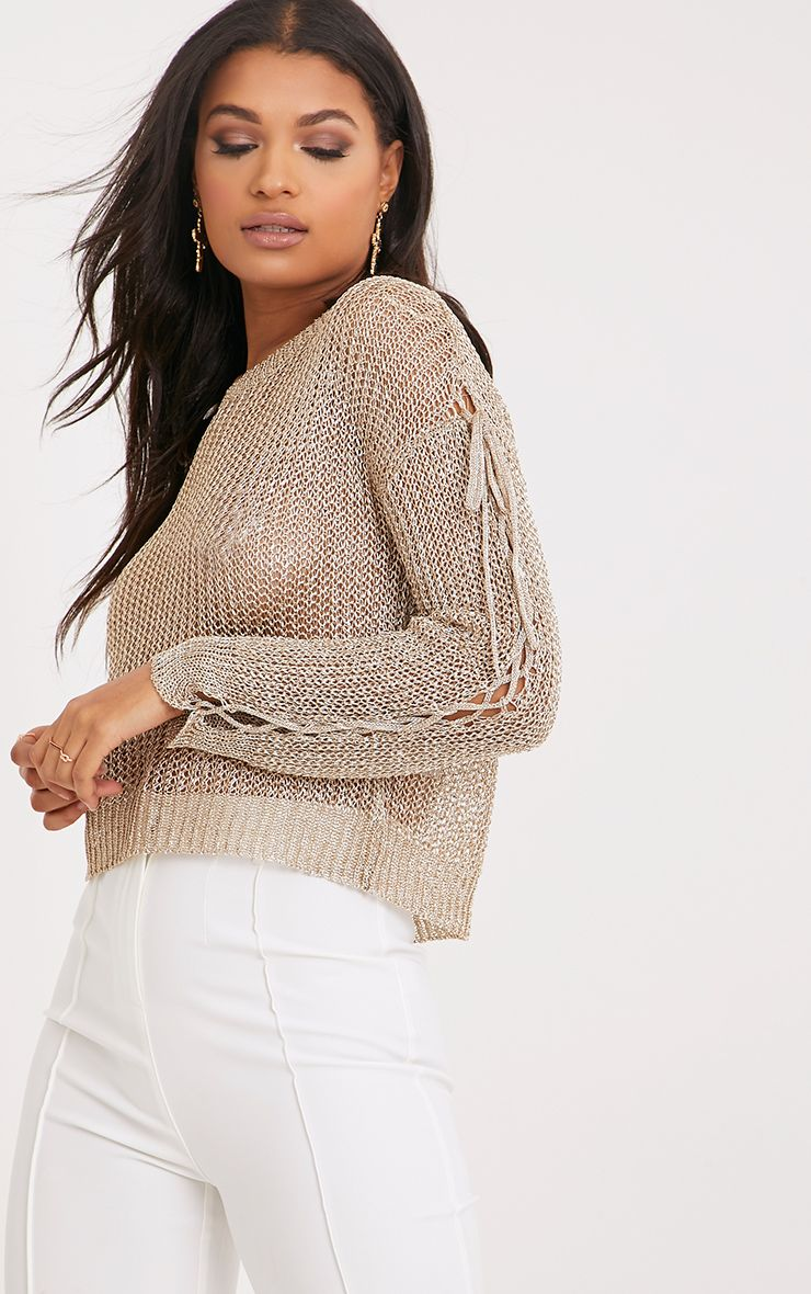 Zoie Gold Metallic Knit Sleeve Tie Jumper