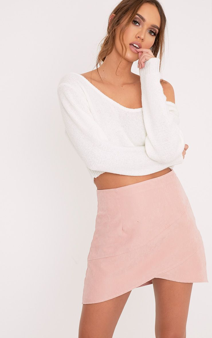 Bexley Blush Wrap Hem Faux Suede Mini Skirt Pink
