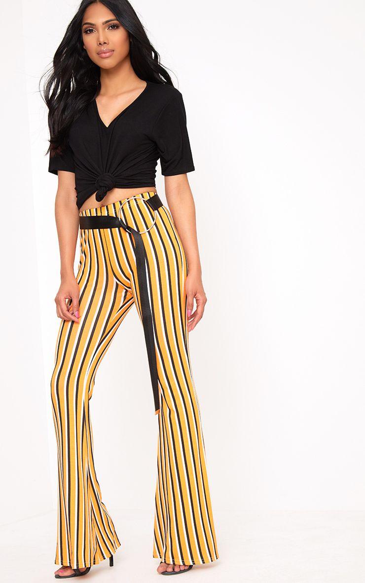 Orange Vertical Stripe Jersey Flared Trousers