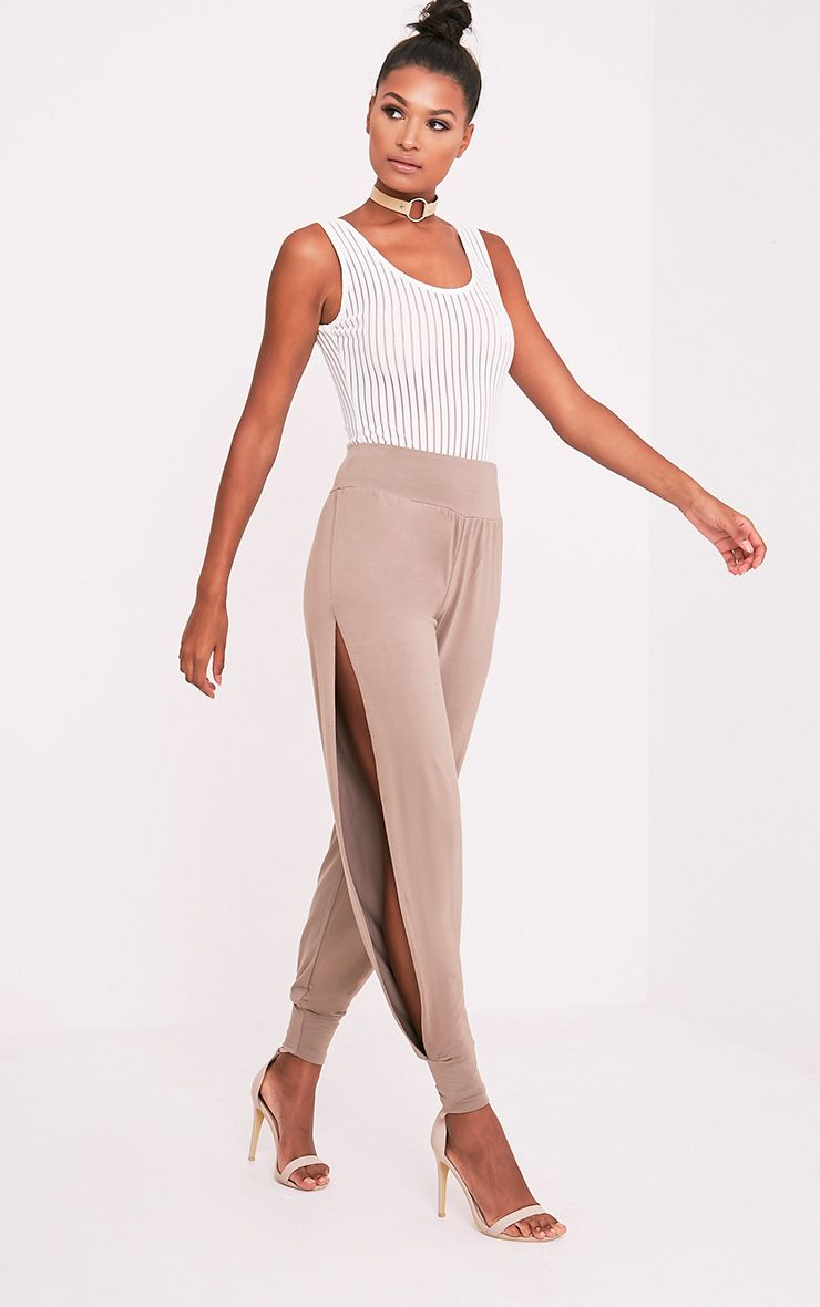 Chasity Taupe Split Side Jersey Trousers 1