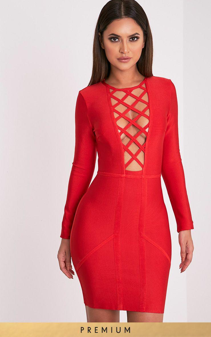 Livia Red Lattice Bandage Bodycon Dress