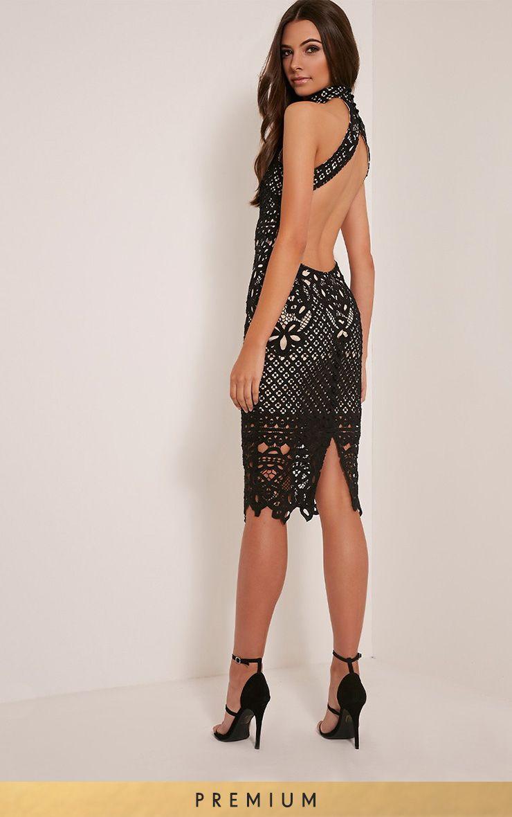 Hanny Black Premium Crochet Midi Dress