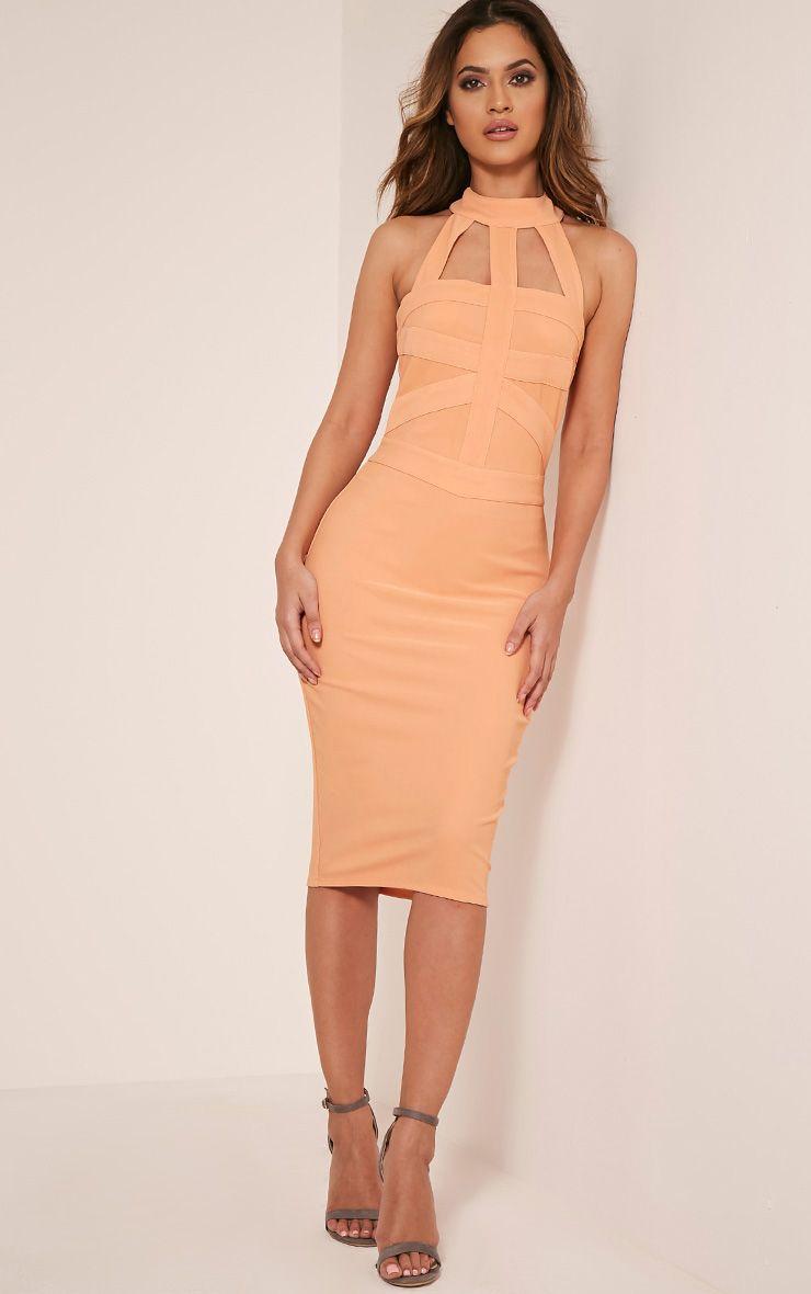 Rosah Nude Bandage Panel Detail Bodycon Dress 1