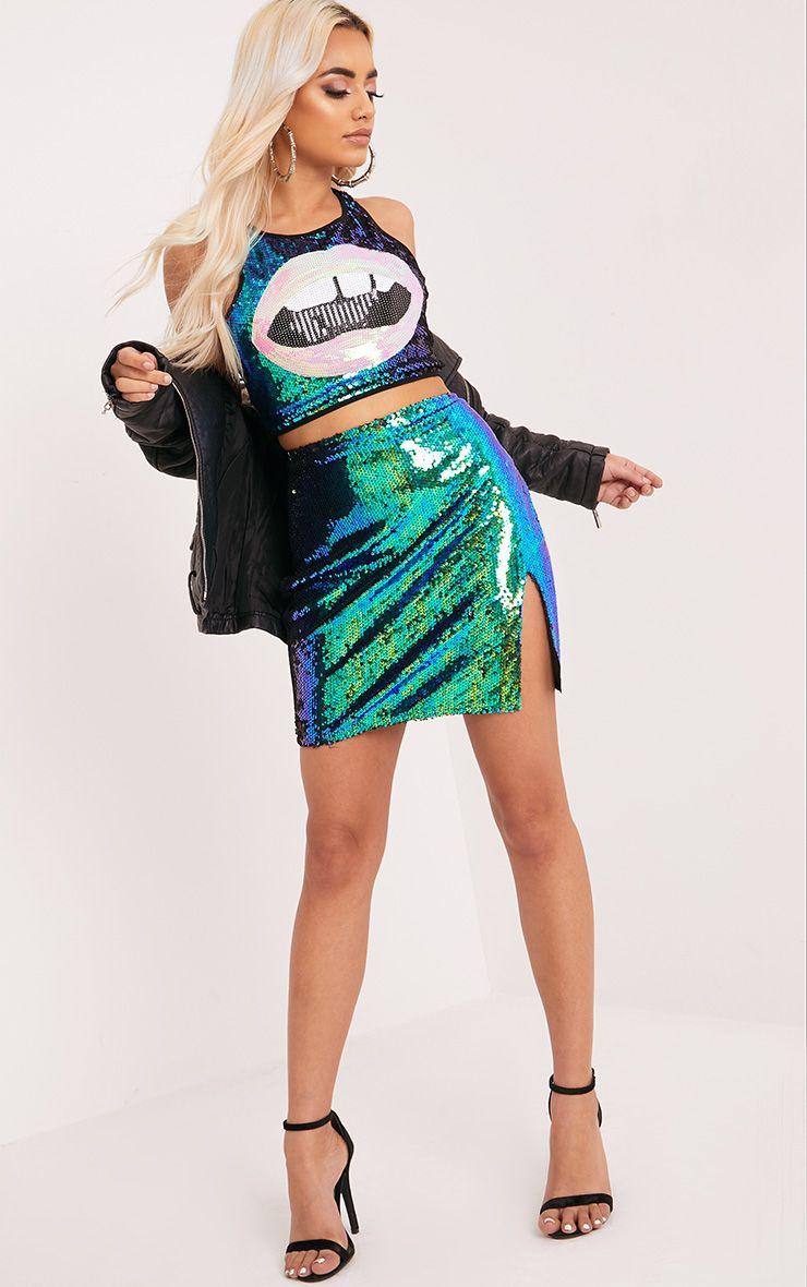 Dawna Green Side Split Sequin Mini Skirt 1