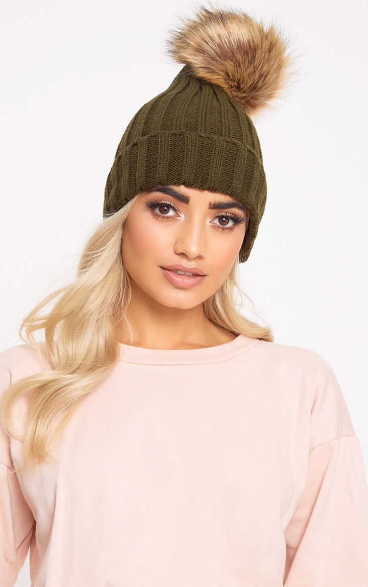 Khaki Fur Pom Beanie Hat