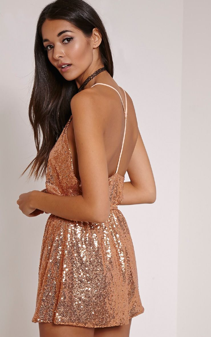 Tay Nude Sequin T Bar Sequin Playsuit 1